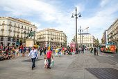 MADRID, SPAIN - JUN 6: Puerta del Sol, Madrid, one of the famous landmarks of the capital and the ce