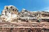 Statue of Reclining (Lying) Buddha in Wat Lokayasutharam, Ayutthaya, Thailand