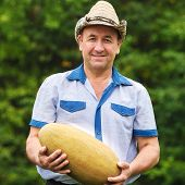 Gardener with melon