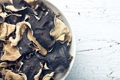 foto of judas  - top view of dried chinese black fungus - JPG