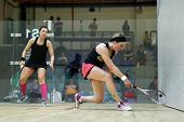 AUGUST 19, 2014 - KUALA LUMPUR, MALAYSIA: Delia Arnold of Malaysia plays Alison Waters of England (r