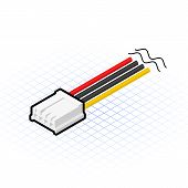 Isometric 4 Pin Floppy Connector