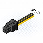 Isometric 4 pin PCIe Connector