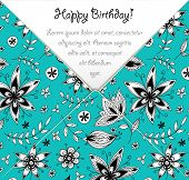 Happy Birthday card with colorful floral pattern
