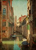 Canal  In Venice, Italy. Added paper texture