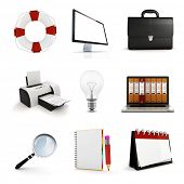 3d office elements set, on white background
