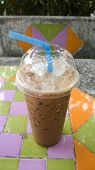 Iced Coffee On Ceramic Background