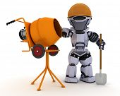 3D Render of a Robot builder with cement mixer