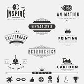 Retro Vintage Labels Logo design vector template set.  Old style elements, business signs, logos, label, badges and symbols. Design Studio Logotype collection: 3D, cartoon, animation, calligraphy