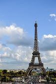 Eiffel Tower with blue sky