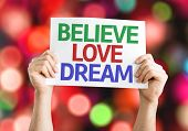 Believe Love Dream card with colorful background with defocused lights