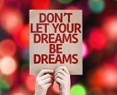 Don't Let Your Dreams Be Dreams card with colorful background with defocused lights