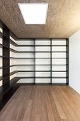 Architecture, modern apartment, empty room with bookcase