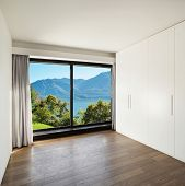 Architecture, modern apartment, empty room with wardrobes