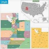 Map of Utah state designed in illustration with the counties and the county seats