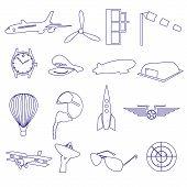 Blue Aeronautical And Aviation Outline Icons Set Eps10