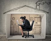 Businesswoman working at home