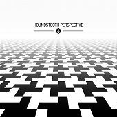 Houndstooth pattern in perspective. Vector.