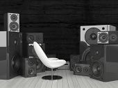 3D Rendering of Modern white chair surrounded by huge soundspeakers. A perfect place to listen to music.