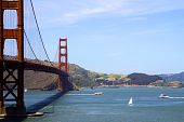 image of golden gate bridge  - view to golden gate bridge and san francisco bay - JPG