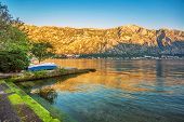 seafront with sea and mountain views in sunlights.  Montenegro