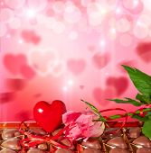 Valentines Day Background With Heart, Candy And Rose