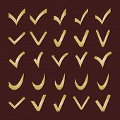 Set of Different Golden Vector Check Marks