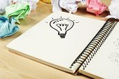 Symbol of idea as light bulb in notebook with crumpled paper on wooden desk background