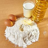 Still Life Of Flour, Milk And Eggs, Sunflower Oil