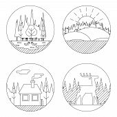 Nature Landscapes Logo Outdoor Life Symbol Lake Forest House Deer Duck Icons Isolated Vector Illustr