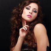 Flirting Sexy Fashion Model Posing. Closeup Portrait