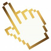 Pixel Graphic Hand - Forefinger Gold