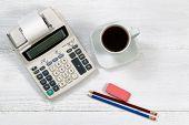Old Fashion Business Calculator On White Desktop
