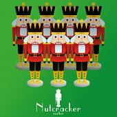 stock photo of nutcracker  - a set of nutcracker soldiers on a background - JPG
