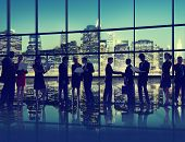 Silhouette Business People Discussion Communication Greeting Handshake Concept