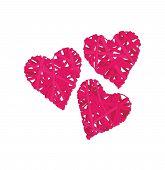 Pink wicker hearts vector design elements, EPS10