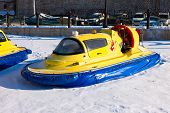 Hovercraft On The Ice Of The Frozen Volga River In Samara Near The Zhigulevsky Brewery