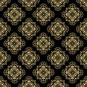 Pattern in the style of Baroque. Abstract Vector Background with Black and Golden Colors