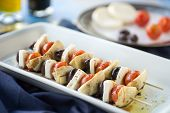 foto of antipasto  - Vegetarian antipasto kepbobs drizzled with olive oil and balsamic vinegar - JPG