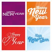 a set of  colored backgrounds with happy new year messages