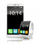 White smartphone and smart watch on white background