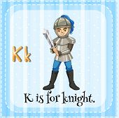 Illustration of a letter k is for knight