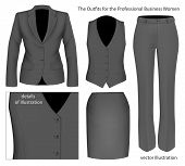 The Outfits for the Professional Business Women.  Formal wear for women. Vector illustration.