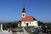 JEZERO KLANJECKO, CROATIA - SEPTEMBER 24: Cemetery with the chapel of St. George in Jezero Klanjecko, Croatia, on September 24, 2013.