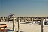 Docks in winter at empty public great lakes marina