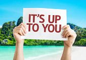 Its Up To You card with a beach on background