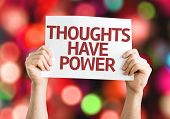 Thoughts Have Power card with colorful background with defocused lights