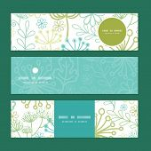 Vector mysterious green garden horizontal banners set pattern background