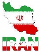 Iran map flag and text illustration