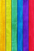 Rainbow colored wooden boards ideal for backgrounds